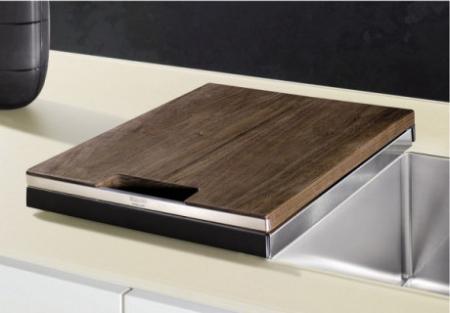 Blanco tocator din lemn masiv de nuc cu mâner din oțel inoxidabil 420 x 362 mm [1]