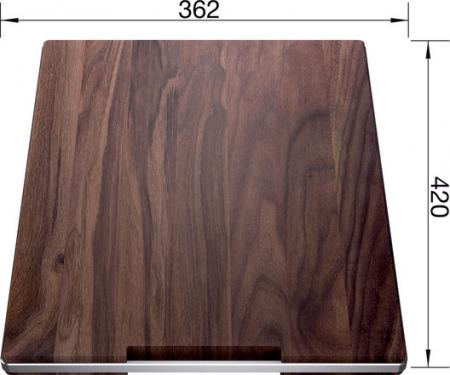 Blanco tocator din lemn masiv de nuc cu mâner din oțel inoxidabil 420 x 362 mm [3]