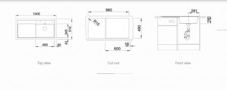 BLANCO ZENAR XL 6 S SILGRANIT PuraDur, InFino cu excentric, cuva dreapta [1]