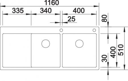 Chiuvetă Blanco Claron 8 S-IF 116x51cm, oțel inoxidabil, cuva dreapta, PushControl [6]
