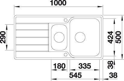Chiuveta BLANCO CLASSIMO 6 S-IF reversibila cu excentric, inox periat [2]
