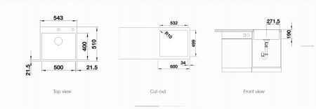 Chiuveta BLANCO SUBLINE 500-IF/A silgranit SteelFrame cu excentric [1]