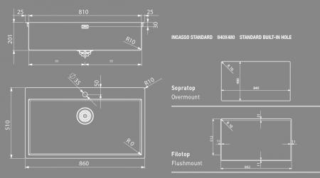 Chiuveta bucatarie  Artinox Aqua Smart 86 860x510 montaj pe sau la nivelul blatului3