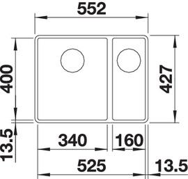 Chiuveta bucatarie BLANCO SUBLINE 340/160-F Silgranit, InFino™ integrat2