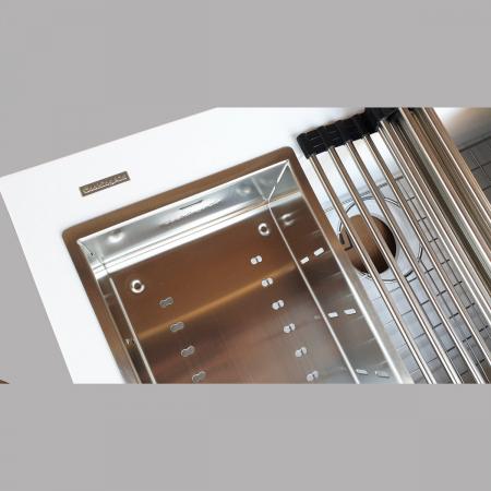 Chiuveta bucatarie granit CookingAid Cube ON7610 Alba / Polar White cu montaj sub blat + accesorii instalare [9]