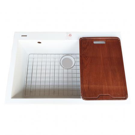 Chiuveta bucatarie granit CookingAid Cube ON7610 Alba / Polar White cu montaj sub blat + accesorii instalare [10]