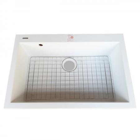 Chiuveta bucatarie granit CookingAid Cube ON7610 Alba / Polar White cu montaj sub blat + accesorii instalare [3]