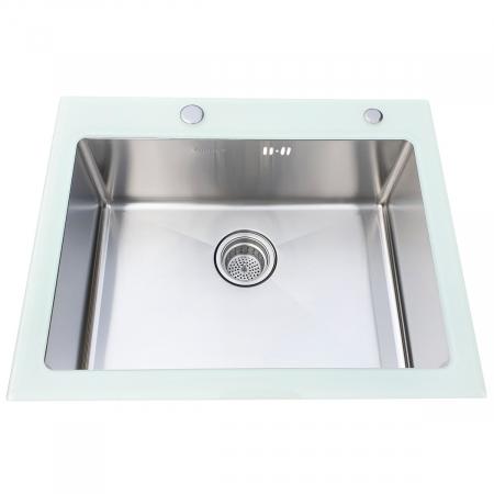 Chiuveta bucatarie inox CookingAid TEMPERED GLASS WHITE cu dozator detergent + accesorii montaj [3]
