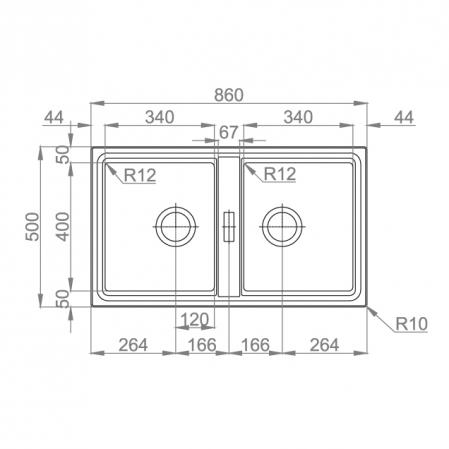 Chiuveta bucatarie cu 2 cuve inox dubla CookingAid FUSION 86BB reversibila stanga/dreapta + accesorii montaj [2]