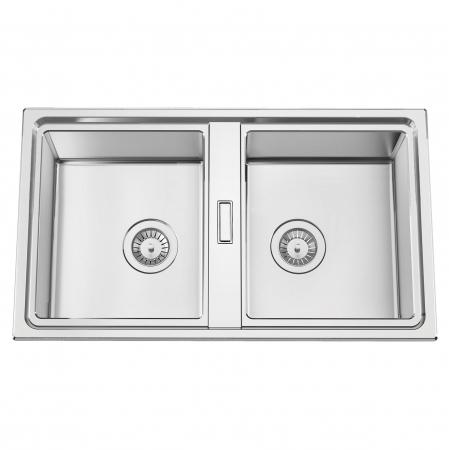 Chiuveta bucatarie cu 2 cuve inox dubla CookingAid FUSION 86BB reversibila stanga/dreapta + accesorii montaj [0]
