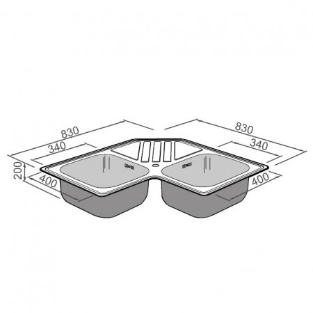 Chiuveta bucatarie cu 2 cuve inox dubla CookingAid KEPPLER BB pe colt reversibila stanga/dreapta cu picurator + accesorii montaj9