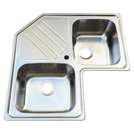 Chiuveta bucatarie cu 2 cuve inox dubla CookingAid KEPPLER BB pe colt reversibila stanga/dreapta cu picurator + accesorii montaj3