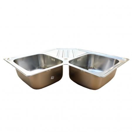 Chiuveta bucatarie cu 2 cuve inox dubla CookingAid KEPPLER BB pe colt reversibila stanga/dreapta cu picurator + accesorii montaj1