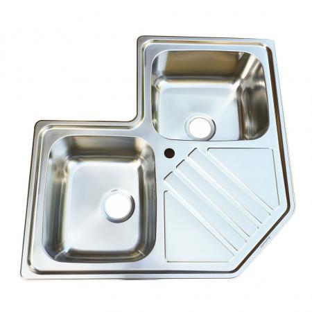 Chiuveta bucatarie cu 2 cuve inox dubla CookingAid KEPPLER BB pe colt reversibila stanga/dreapta cu picurator + accesorii montaj4