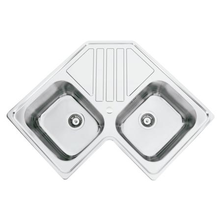 Chiuveta bucatarie cu 2 cuve inox dubla CookingAid KEPPLER BB pe colt reversibila stanga/dreapta cu picurator + accesorii montaj0