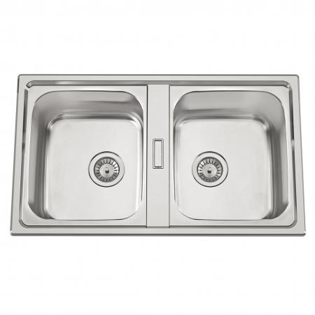 Chiuveta bucatarie cu 2 cuve inox dubla CookingAid URBAN 86BB reversibila stanga/dreapta + accesorii montaj0