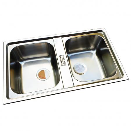 Chiuveta bucatarie cu 2 cuve inox dubla CookingAid URBAN 86BB reversibila stanga/dreapta + accesorii montaj2