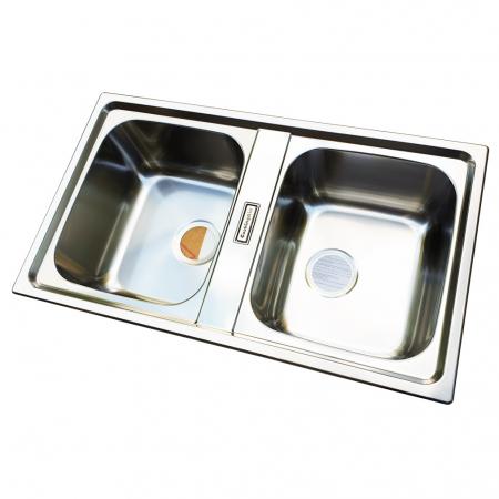 Chiuveta bucatarie cu 2 cuve inox dubla CookingAid URBAN 86BB reversibila stanga/dreapta + accesorii montaj1