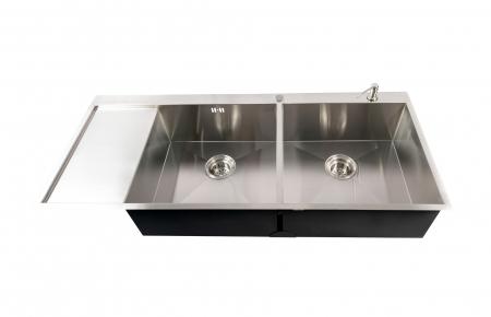 Chiuveta bucatarie dubla HORECA / BUCATARII MARI inox cu 2 cuve CookingAid ULTIMATE DUO XL cu dozator detergent, scurgator vase/paste/fructe, gratar rulabil inox + accesorii montaj8