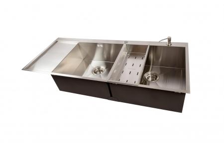 Chiuveta bucatarie dubla HORECA / BUCATARII MARI inox cu 2 cuve CookingAid ULTIMATE DUO XL cu dozator detergent, scurgator vase/paste/fructe, gratar rulabil inox + accesorii montaj4