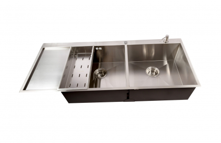 Chiuveta bucatarie dubla HORECA / BUCATARII MARI inox cu 2 cuve CookingAid ULTIMATE DUO XL cu dozator detergent, scurgator vase/paste/fructe, gratar rulabil inox + accesorii montaj7
