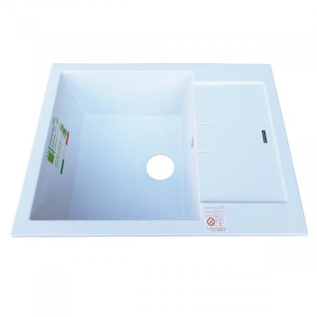 Chiuveta bucatarie granit CookingAid Amanda AM6510 Alba / Polar White reversibila stanga/dreapta cu picurator + accesorii montaj2