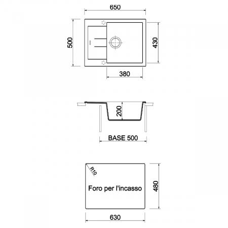 Chiuveta bucatarie granit CookingAid Amanda AM6510 Alba / Polar White reversibila stanga/dreapta cu picurator + accesorii montaj7