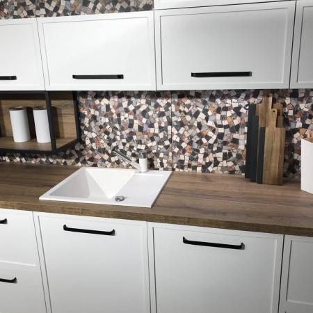 Chiuveta bucatarie granit CookingAid Amanda AM6510 Alba / Polar White reversibila stanga/dreapta cu picurator + accesorii montaj8
