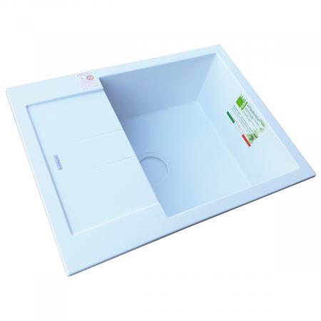 Chiuveta bucatarie granit CookingAid Amanda AM6510 Alba / Polar White reversibila stanga/dreapta cu picurator + accesorii montaj4