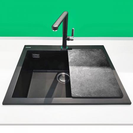 Chiuveta bucatarie granit CookingAid Cube ON5610 Neagra / Black Metal quartz + accesorii montaj4