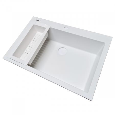 Chiuveta bucatarie granit CookingAid Cube ON7610 Alba / Polar White cu montaj sub blat + accesorii instalare [7]