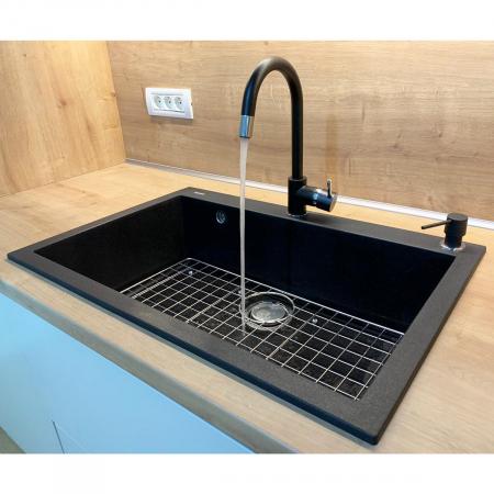 Chiuveta bucatarie granit CookingAid Cube ON7610 Neagra / Black Metal quartz + accesorii montaj [6]