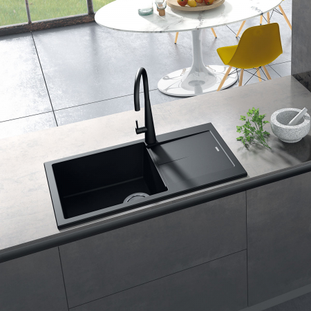 Chiuveta bucatarie granit CookingAid Infinity NF8610 Neagra / Black Metal quartz reversibila stanga/dreapta cu picurator + accesorii montaj [3]