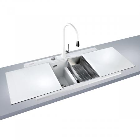 Chiuveta bucatarie granit dubla cu 2 cuve CookingAid Kinga LX8620 Alba / Polar White [1]