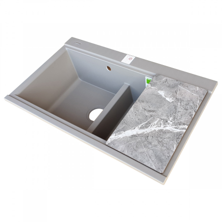 Chiuveta bucatarie granit dubla cu 2 cuve CookingAid Kinga LX8620 Maro Trufa / Truffle + accesorii montaj [9]