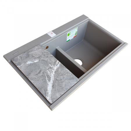 Chiuveta bucatarie granit dubla cu 2 cuve CookingAid Kinga LX8620 Maro Trufa / Truffle + accesorii montaj [8]