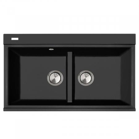 Chiuveta bucatarie granit dubla cu 2 cuve CookingAid Kinga LX8620 Neagra Antracit / Black Nanostone + accesorii montaj0