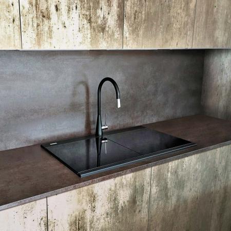 Chiuveta bucatarie granit dubla cu 2 cuve CookingAid Kinga LX8620 Neagra Antracit / Black Nanostone + accesorii montaj6