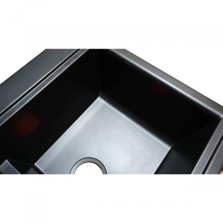 Chiuveta bucatarie granit dubla cu 2 cuve CookingAid Kinga LX8620 Neagra Antracit / Black Nanostone + accesorii montaj3