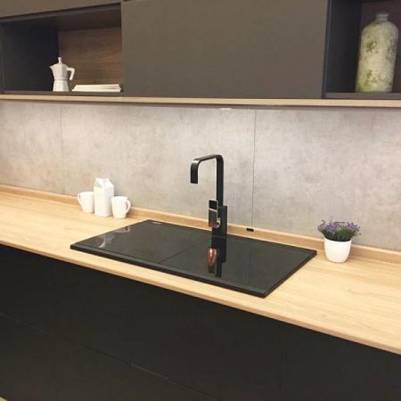 Chiuveta bucatarie granit dubla cu 2 cuve CookingAid Kinga LX8620 Neagra / Black Metal Quartz + accesorii montaj [6]