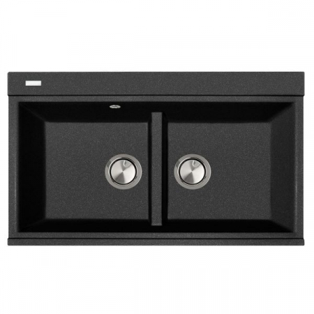 Chiuveta bucatarie granit dubla cu 2 cuve CookingAid Kinga LX8620 Neagra / Black Metal Quartz + accesorii montaj [4]