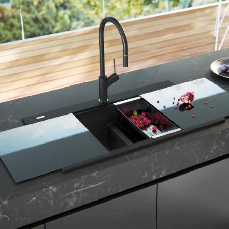Chiuveta bucatarie granit dubla cu 2 cuve CookingAid Kinga LX8620 Neagra / Black Metal Quartz + accesorii montaj [2]
