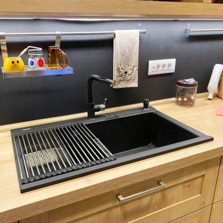 Chiuveta bucatarie granit dubla cu 2 cuve CookingAid Kinga LX8620 Neagra / Black Metal Quartz + accesorii montaj [16]