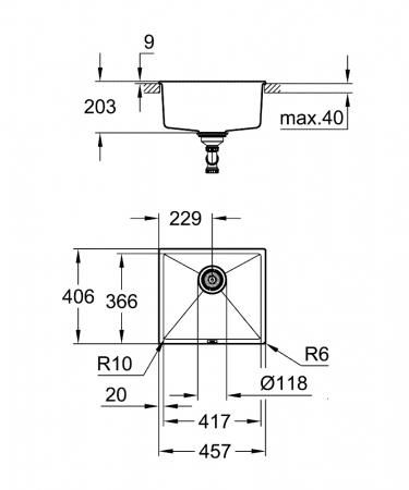 Chiuveta bucatarie granit Grohe K700, 47X41 cm, o cuva, montaj sub blat sau pe blat [4]
