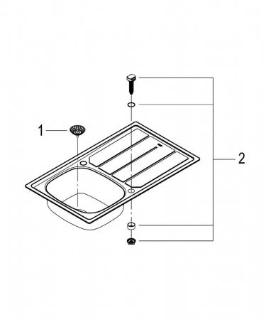 Chiuveta bucatarie Grohe K200 din inox, reversibila cu excentric [4]