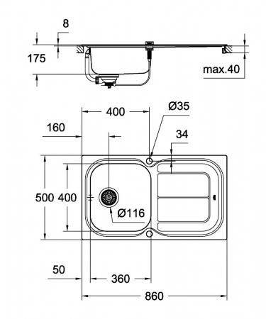 Chiuveta bucatarie Grohe K300 din inox cu mecanism automat de scurgerey [6]