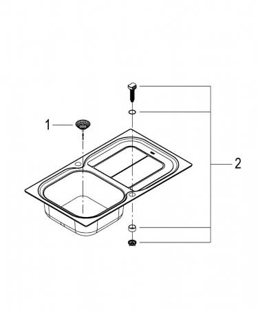 Chiuveta bucatarie Grohe K300 din inox cu mecanism automat de scurgerey [2]