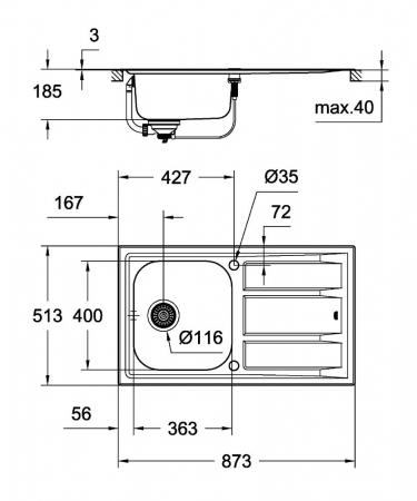 Chiuveta bucatarie Grohe K400+ din inox, reversibila cu excentric [4]