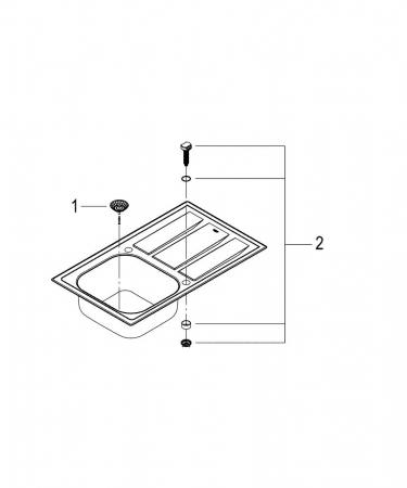 Chiuveta bucatarie Grohe K400+ din inox, reversibila cu excentric [2]