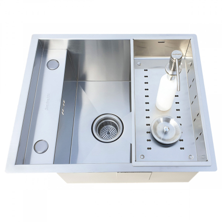Chiuveta bucatarie inox CookingAid INVISIBLE DEEP cu baterie telescopica integrata, scurgator vase/paste/fructe, tocator sticla temperizata, dozator detergent + accesorii montaj [7]
